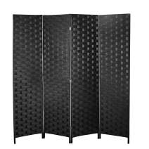 Room Divider and Folding Privacy Screen, 4 Panel Wood Mesh Woven Design Room Screen Divider, Folding Portable Partition Screen for Decorating Bedroom, Living Room, Office