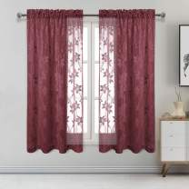 DWCN Floral Lace Sheer Curtains - Rod Pocket Window Voile Sheer Drapes for Bedroom Kitchen Short Curtains 52 x 63 inch Length, Set of 2 Burgundy Curtain Panels