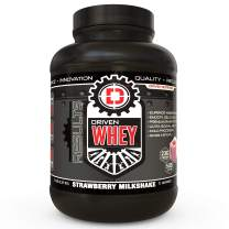 Driven WHEY- Grass Fed Whey Protein Powder: Delicious, Clean Protein Shake- Improve Muscle Recovery with 23 Grams of Protein with Added BCAA and Digestive Enzymes (Strawberry Milkshake, 5 lb)