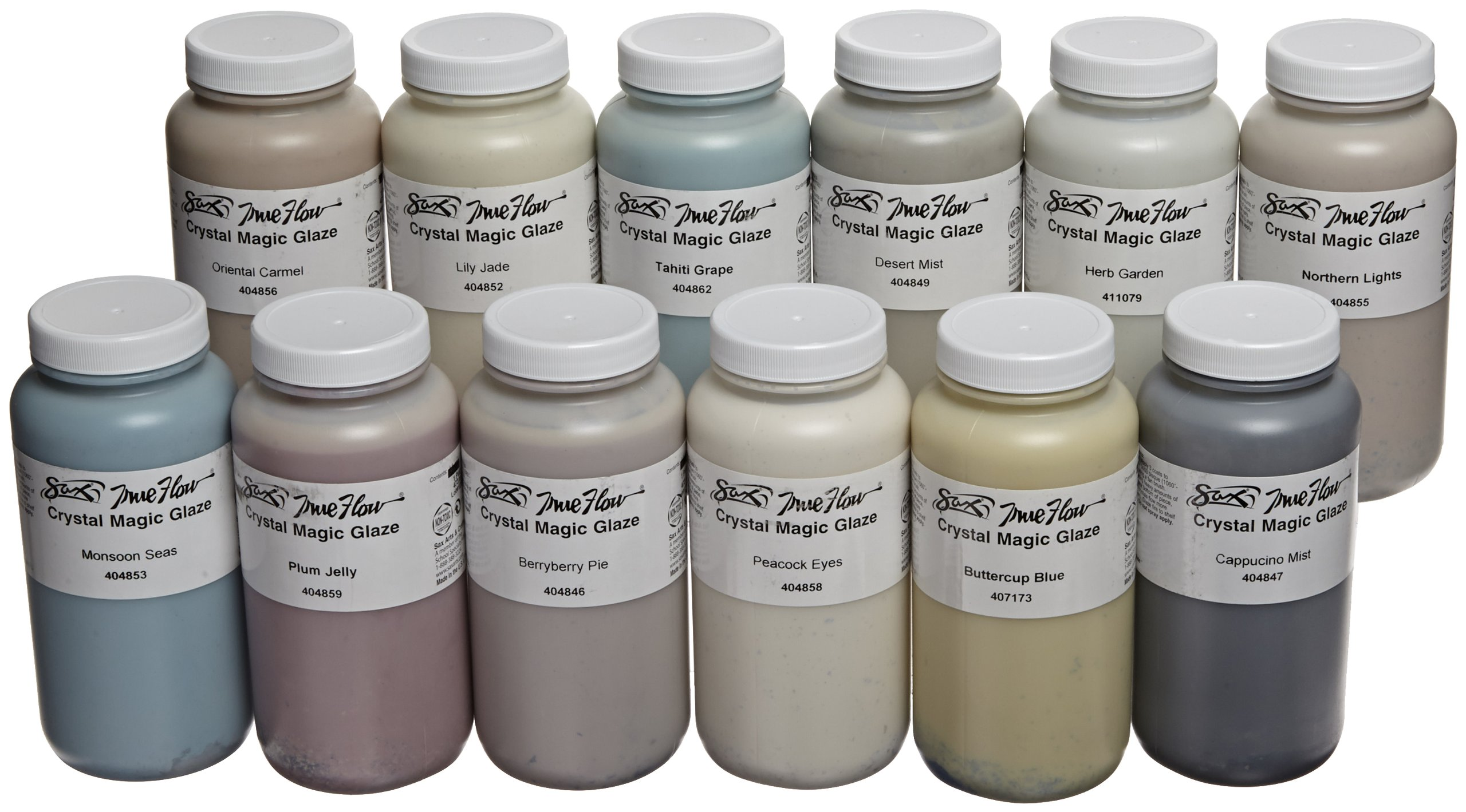 Sax True Flow Crystal Magic Glazes, Assorted Colors, Set of 12 Pints - 406470