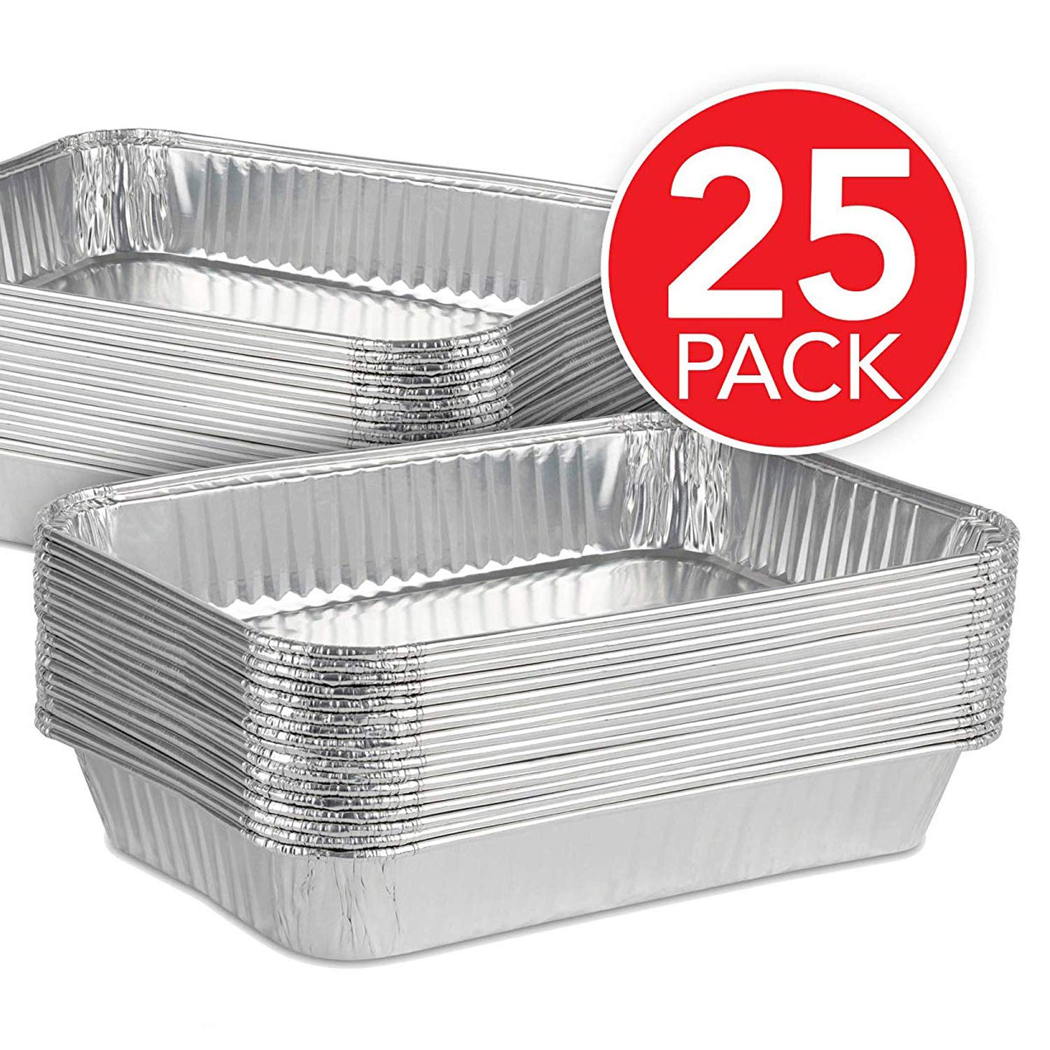 Aluminum Foil Drip Pans (25 Pack) Grill Compatible Drip Pans - Disposable Grease Catch Trays - Grill Drip Pan Liners to Catch Grease - BBQ Drip Pan