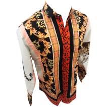 Men's Premiere Designer Fashion Dress Shirt Casual Shirt Woven Short Sleeve Button Down Shirt (3XL, Black & Red Leaf)