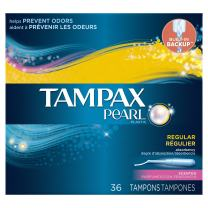 Tampax Pearl Tampons with Plastic Applicator, Regular Absorbency, Fresh Scent, 36 Count