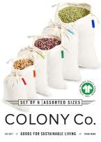 Colony Co. Reusable Bulk Food Bags, Set of 6 - Variety of Sizes, Certified Organic Cotton Muslin, Tare Weight Label, Washable, Double-Drawstring Design, Recyclable Packaging, Zero Waste
