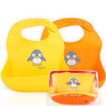 NatureBond Silicone Baby Bibs for Babies & Toddlers (2 PCs) | Free Waterproof Pouch | Wipes Clean Easily, Soft, Unisex, Adorable in Appetite Stimulating Colors