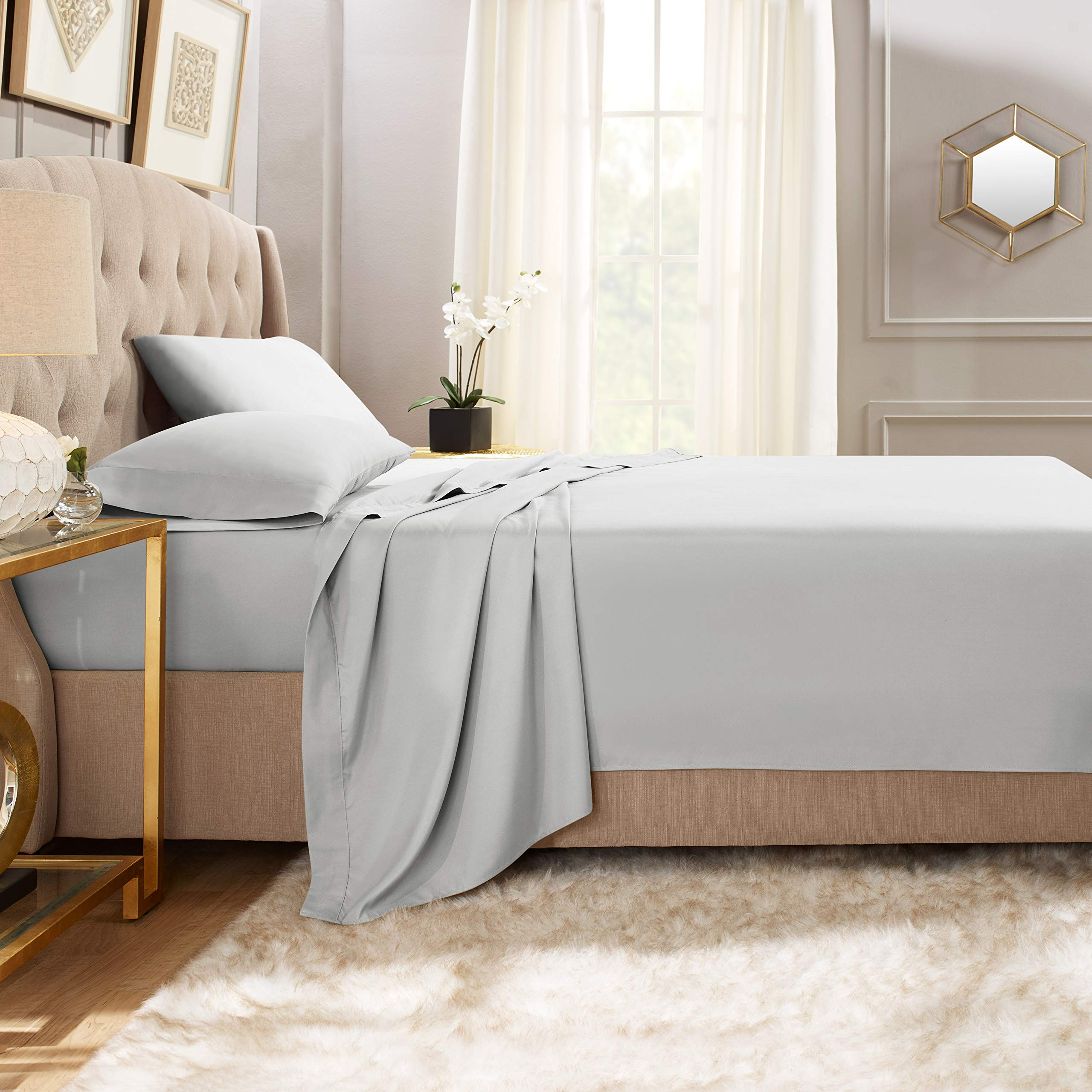 """Empyrean Bedding Premium Flat Sheets – 2-Pack """"110 GSM"""" Top Bed Sheets Double Brushed Microfiber Thick and Comfortable Flat Sheets Set, Luxurious & Soft Hotel Hypoallergenic, Twin, Silver Light Gray"""