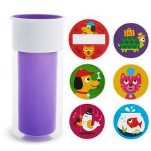 Munchkin Miracle 360 Insulated Sippy Cup, Includes Stickers to Customize Cup, 9 Ounce, Purple