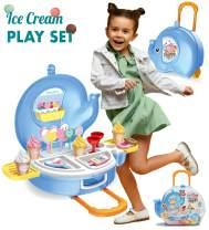 MOBIUS Toys Ice Cream Play Set for Kids - 27pcs Ice Cream Parlor Pretend Play Food Set for Toddlers, Boys & Girls Age 2 3 4 5 +, Ice-Cream Food Trolley Toy and Icecream Cart, Birthday Gifts