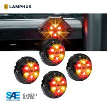 LAMPHUS 4pc SnakeEye III Amber RED LED Hideaway Strobe Light [SAE Class 1] [IP67 Waterproof] [72 Flash Modes] [Multi Units Sync-able] [Steady Override] Emergency Strobe Police Lights for Vehicles