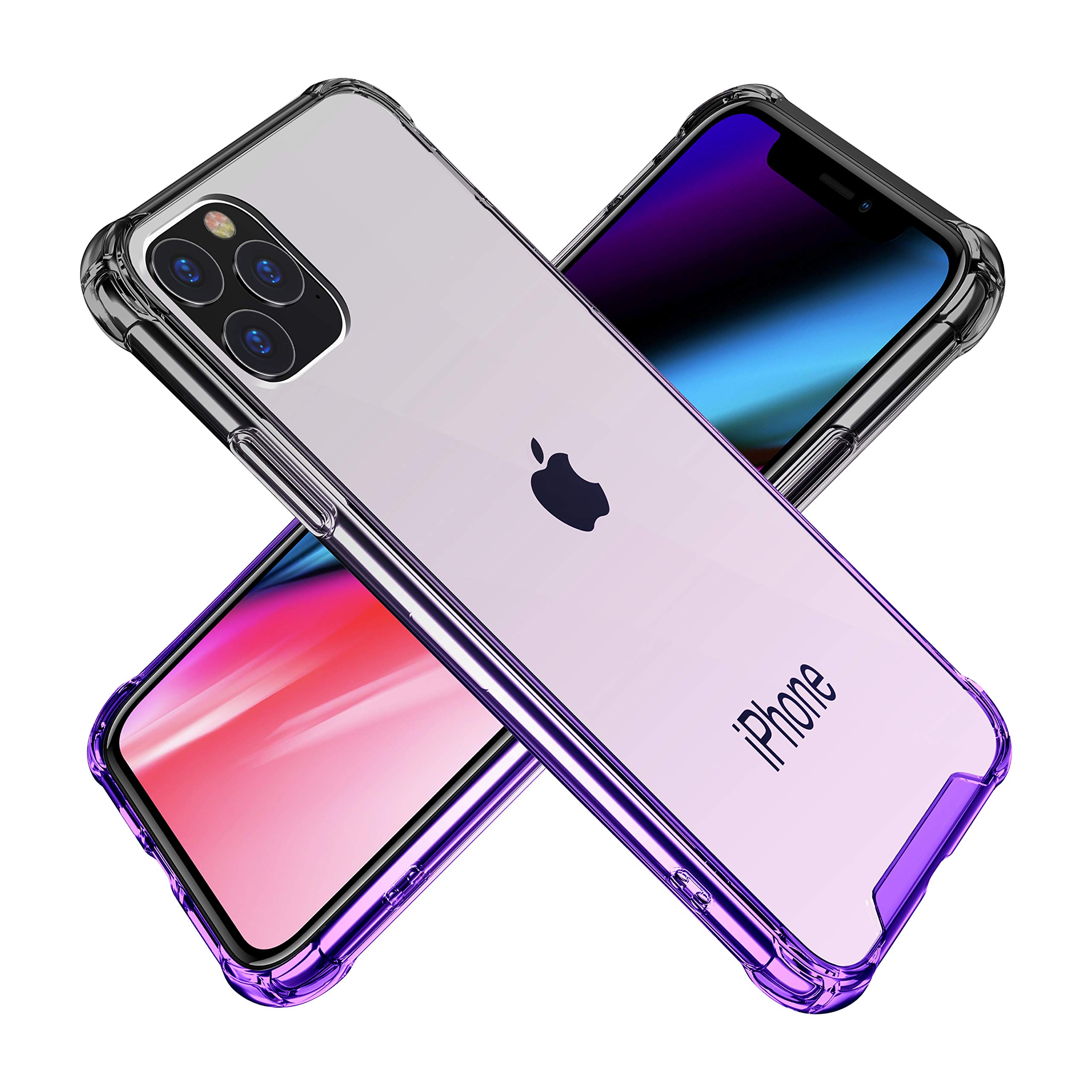 BAISRKE iPhone 11 Pro Case, Slim Shock Absorption Protective Cases Soft TPU Bumper & Hard Plastic Back Cover for iPhone 11 Pro 2019 [5.8 inch] - Black Purple Gradient