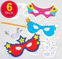 Baker Ross Colour in Superhero Masks, Colouring Craft Kits for Kids Arts and Craft Activities (Pack of 6)