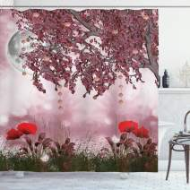 """Ambesonne Poppy Shower Curtain, Dream Garden with Poppies Full Moon Floral Tree Branches Fairy Tale Paradise Scenery, Cloth Fabric Bathroom Decor Set with Hooks, 75"""" Long, Mauve Red"""