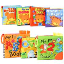 KIDAMI Baby Soft Books (Pack of 7) with Teether and Crinkle Paper, Water Proof Bath Book, First Year Book for Learning Numbers and Alphabets and Telling Stories, Gift for Infant, Baby and Toddler