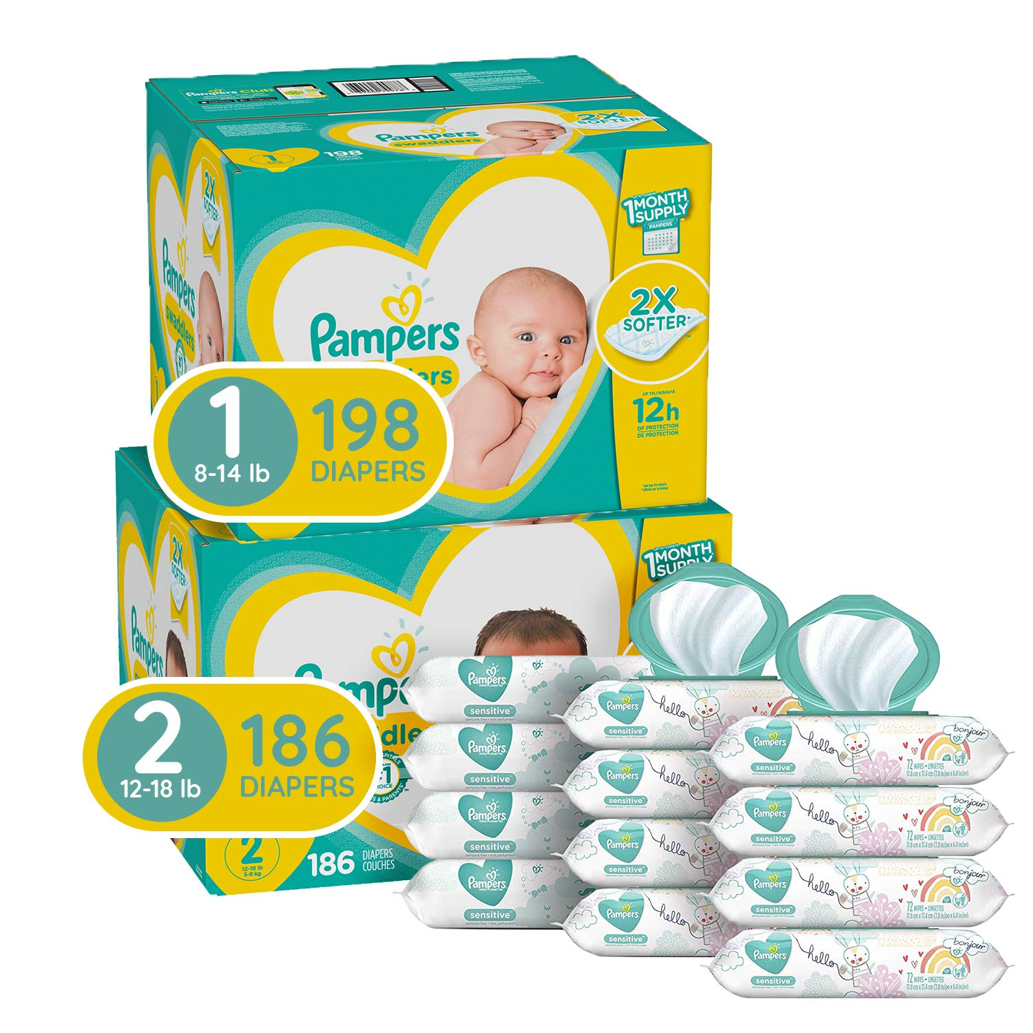 Pampers Baby Diapers and Wipes Starter Kit (2 Month Supply) - Swaddlers Disposable Baby Diapers Sizes 1 (198 Count) & 2, (186 Count) with Sensitive Water-Based Baby Wipes, 12X Pop-Top Packs, 864 Count