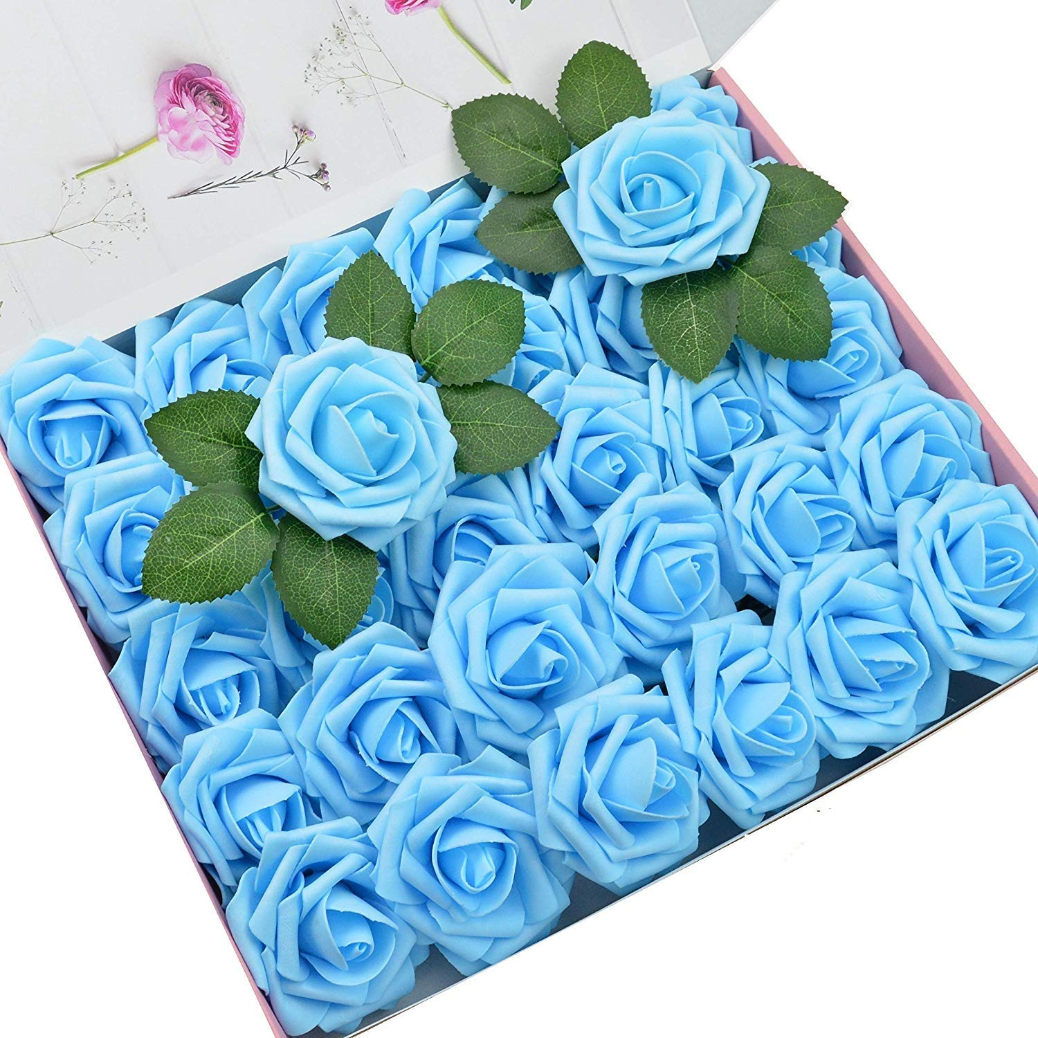DerBlue 60pcs Artificial Roses Flowers Real Looking Fake Roses Roses Decoration DIY for Wedding Bouquets,Arrangements Party Baby Shower Home Decorations
