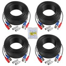 4-Pack 100ft BNC Video and Power Security Camera Cable with BNC Connectors and RCA Adapters for CCTV Camera System (Black)