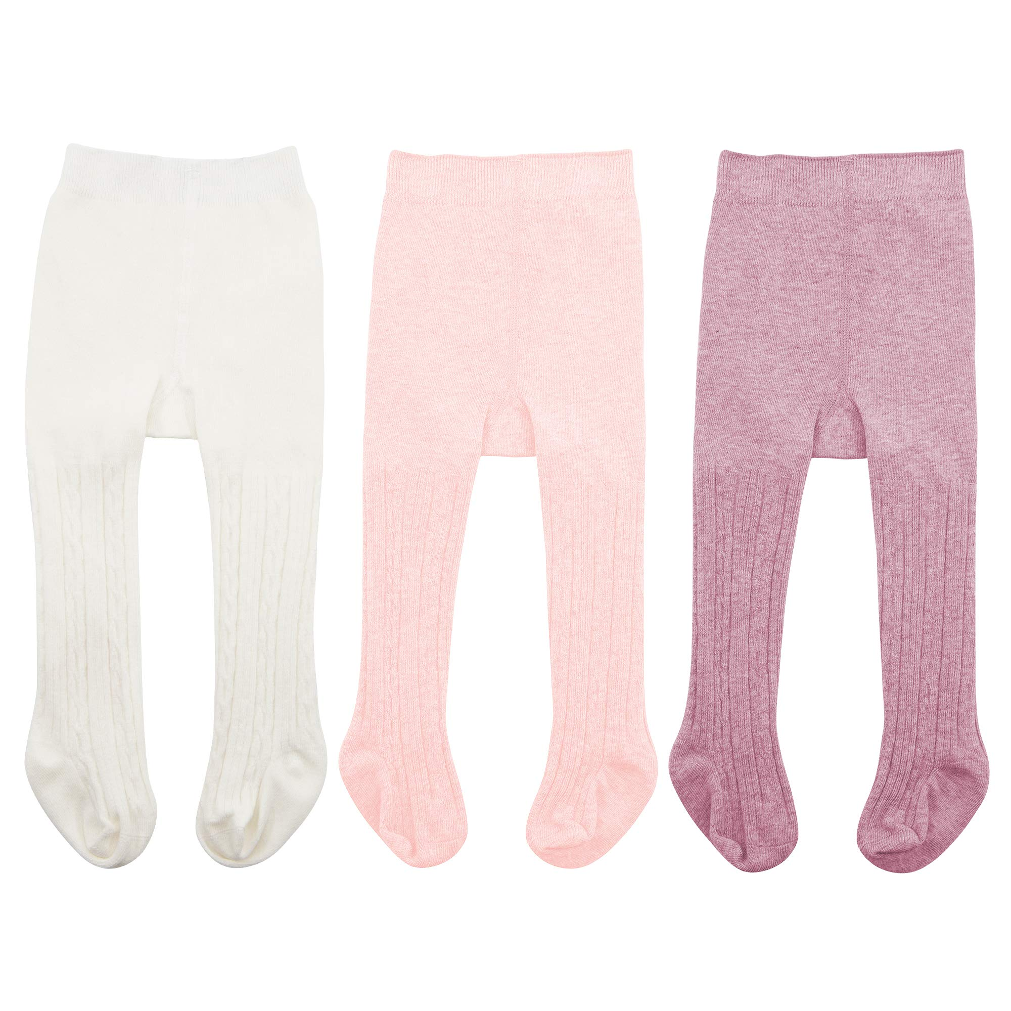 Baby Leggings - Zando Baby Girls Seamless Cable Knit Tights Infant Baby Toddler Girls Tights Knit Cotton Tight Leggings White & Ballet Pink & Purple Small / 0-6 Month