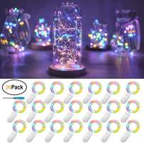 20 Packs Fairy String Lights, 6.6FT 20 LEDs Battery Operated Silver Copper Wire Starry String Light for DIY Party Christmas Costume Wedding Easter Table Decorations (4 Colors)