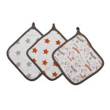 Bacati Muslin 3 Piece Set of Wash Cloth, Basketball/Orange/Grey