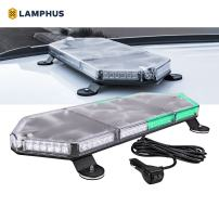 "LAMPHUS NanoFlare NFMB80 26"" 80W Green White LED Strobe Mini Light Bar [SAE Class 1] [63 Flash Modes] [12ft Cord] [Magnet or Permanent] Flashing Emergency Police Light Bar for Truck Vehicles"