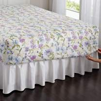 BrylaneHome 300-Tc Cotton Printed Bed Tite Sheet Set - Twin, Blue Floral