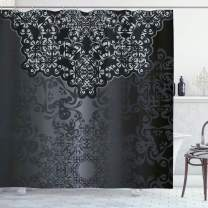 "Ambesonne Dark Grey Shower Curtain, Vintage Damask Inspired Ornament Victorian Swirls Curlicues, Cloth Fabric Bathroom Decor Set with Hooks, 75"" Long, Dimgrey"