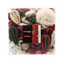 Qingbei Rina Gift Strawberry Scent Potpourri Bag Clear Gift Box, Dried Flower Bowl and Vase Filler, Home Fragrance Perfume Sachet,Good for Filling a Bowl of 33 Fl-oz.(Red)