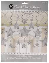 Amscan Stars Hanging Swirls | Silver | Pack of 30 | Party Decor