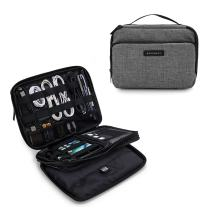 "BAGSMART 3-Layer Travel Electronics Cable Organizer with Bag for 7.9"" Tablet, iPad Mini, Hard Drives, Cables, Charger, Kindle, Grey"