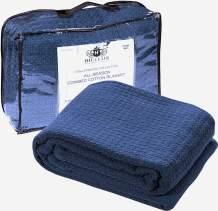 HILLFAIR 100% Soft Premium Combed Cotton Thermal Blanket– Twin Blankets – Soft Cozy Warm Cotton Blanket– Bed Throw Blanket– Twin Bed Blankets– All Season Cotton Blankets– Navy Blue Twin Cotton Blanket
