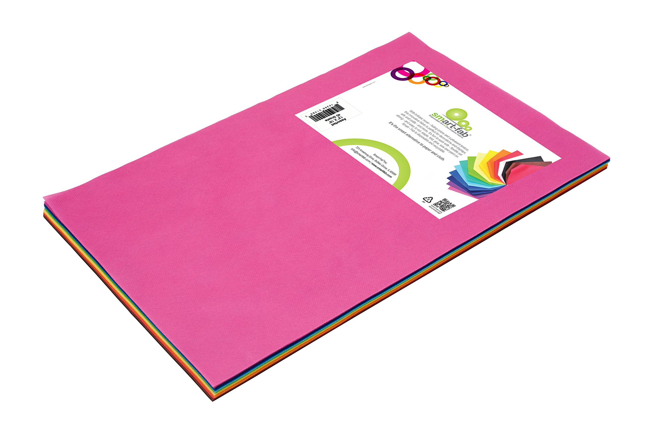 """Smart-Fab Disposable Classroom Fabric Sheets for Arts & Crafts - Cut, Glue, Draw, Staple like Construction Paper, 45 Sheets, 12""""x18"""", Assorted Colors"""