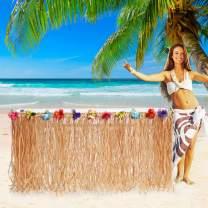 9ft Hawaiian Luau Grass Table Skirt Raffia Table Skirt Hula Tiki Bar Straw Table Skirt for Tropical Hawaiian Party Decorations,Luau Party Decorations Supplies,Moana Birthday Table Cover Decorations