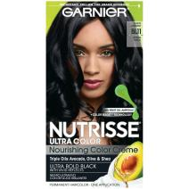 Garnier Nutrisse Ultra Color Nourishing Permanent Hair Color Cream, B11 Jet Blue Black (1 Kit) Black Hair Dye (Packaging May Vary), Pack of 1
