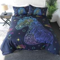 Sleepwish Neon Unicorn Bedding Set, Hand Drawn Unicorn Print Duvet Cover and Pillow Shams, 3 Pcs, Purple and Blue, Unicorn Gifts for Kids Teens Adults (Full)
