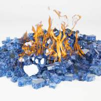 CYS EXCEL Fire Glass for Fire Pit 10 Pounds, Reflective 1/2 inch Fireplace Glass, Rock Outdoor (Reflective, Sapphire Blue)