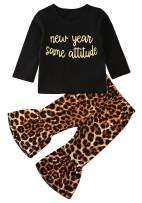 Toddler Girl Bell Bottom Pants Outfit Sweatshirt Leopard Top Flared Horn Pants Spring Clothes Set