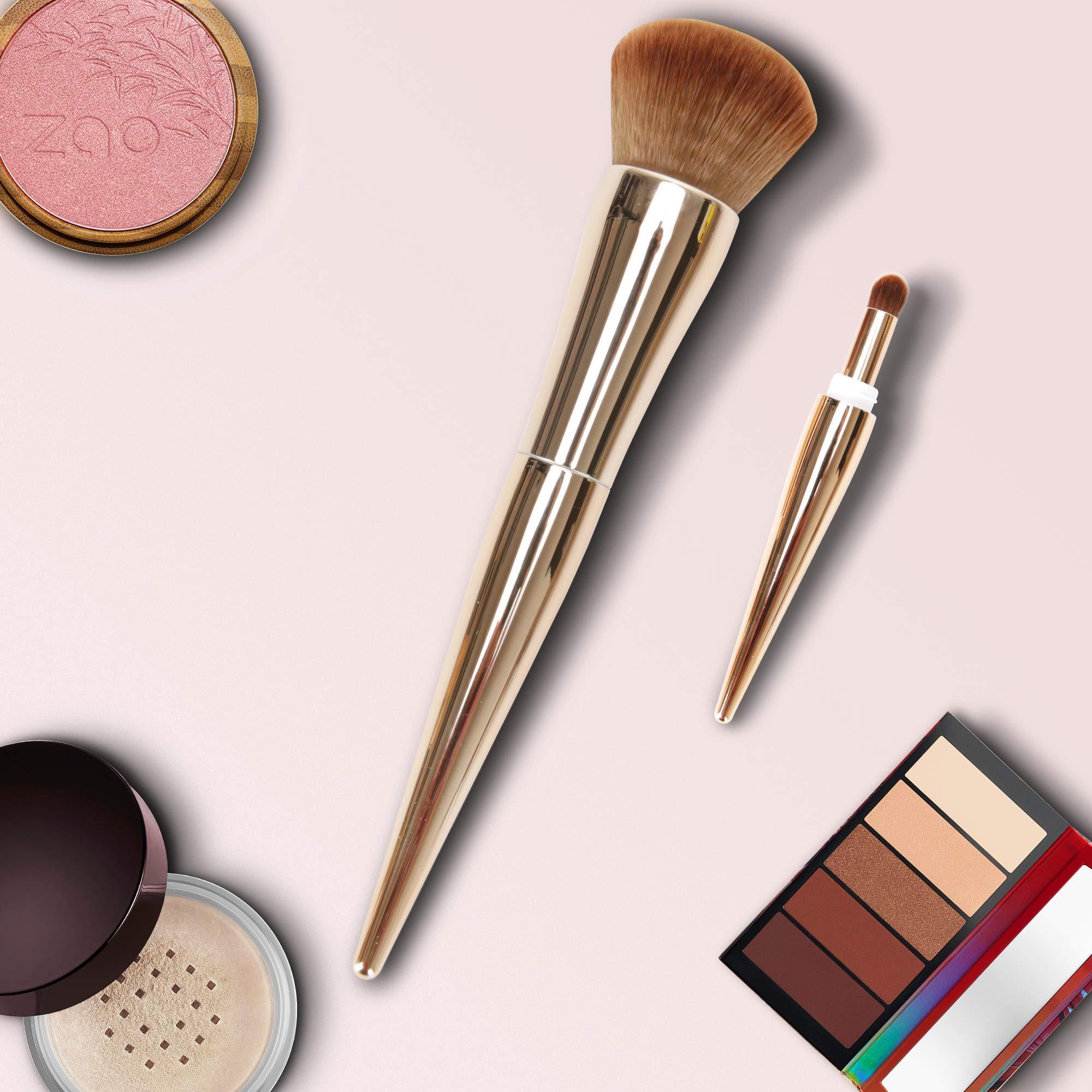 Powder Brush, 2-in-1 Makeup Brushes for Blush Brush & Bronzer Brush Rose Gold