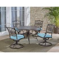 """Hanover Traditions 5-Piece Cast Aluminum Outdoor Patio Dining Set, 4 Swivel Rocker Chairs and 48"""" Round Table, Brushed Bronze Finish with Blue Cushions, Rust-Resistant, TRADDN5PCSW-BLU"""
