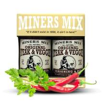 MINERS MIX Steak And Veggie All Purpose Championship Seasoning. A Perfect All Natural Blend of Balanced Herbs and Spices. For All Grilled Meat or Vegetables. Low Salt, No MSG, No Preservatives 2 Pack