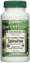 Swanson Certified Organic Spirulina 500 Milligrams 180 Tabs