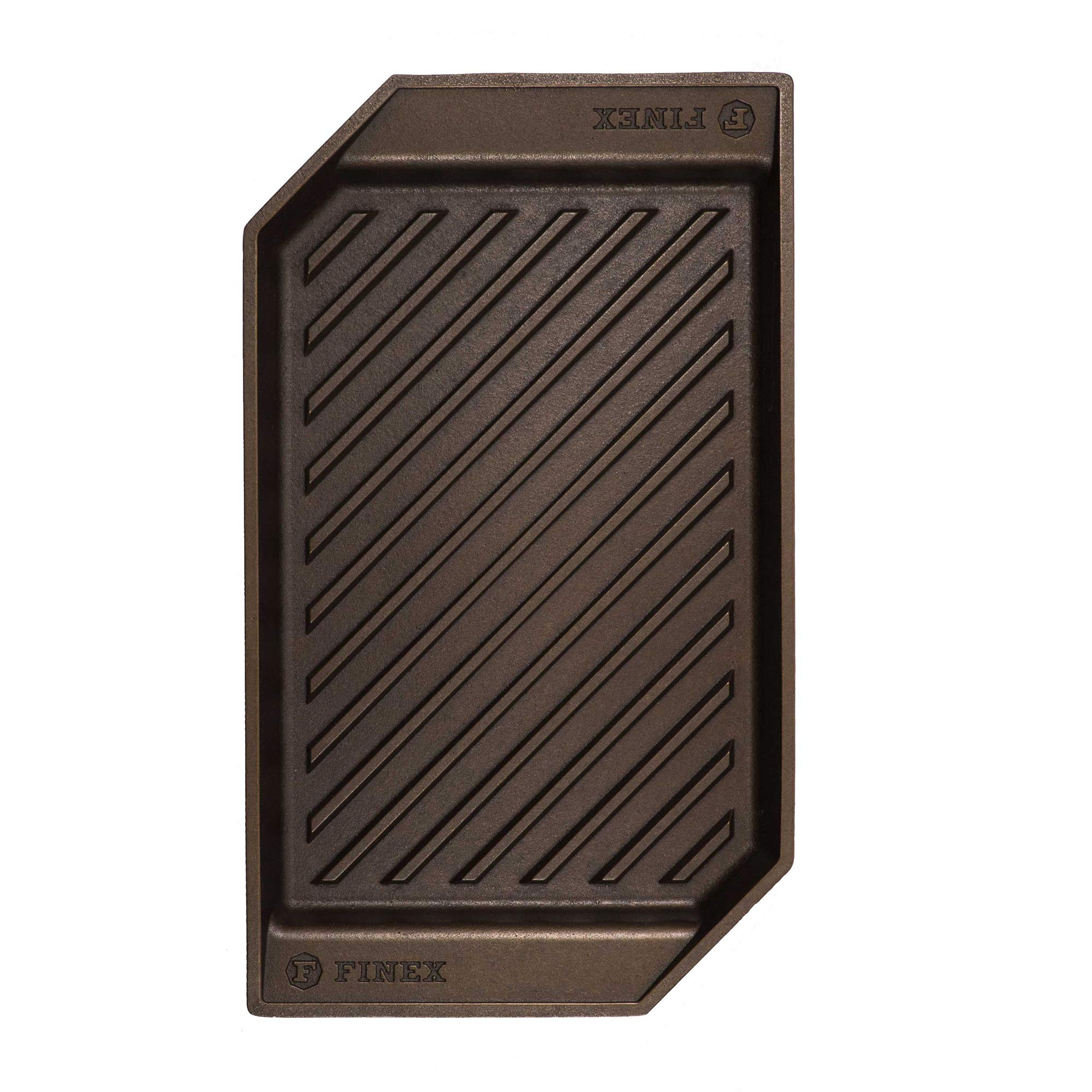 """FINEX 15"""" Cast Iron Lean Grill Pan, Modern Heirloom, Handcrafted in the USA, Pre-seasoned with Organic Flaxseed Oil"""