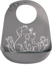 modern-twist Bucket Bib 100% plastic free silicone waterproof, adjustable, dishwasher safe, Bucket Bib, Gray Puppy Love