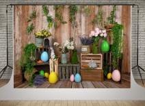 Kate 10x6.5ft Happy Easter Photography Backdrop Wooden Wall Colorful Eggs Photo Backgrounds Cute Rabbit Holiday Decoration Backdrop Shooting