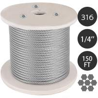 Mophorn 316 Stainless Steel Cable1/4 in 7 X 19 Steel Wire Rope 150Ft Steel Cable for Railing Decking DIY Balustrade(1/4 in 150FT 7X19 T316)