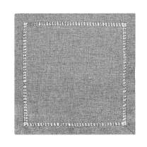 Grelucgo Set of 4 Handcrafted Solid Dark Gray Color Dinner Napkins, Double-Hemstitched, Square 18 x 18 Inches