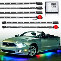 """2nd Gen 8pc 24"""" Tubes + 4pc 12"""" Tubes Undercar & Interior Advanced 3 Million Color UFO Style LED Car Truck ATV Underbody Glow Wireless 120 Preset Remote Control Light Options Accent Light Kit"""