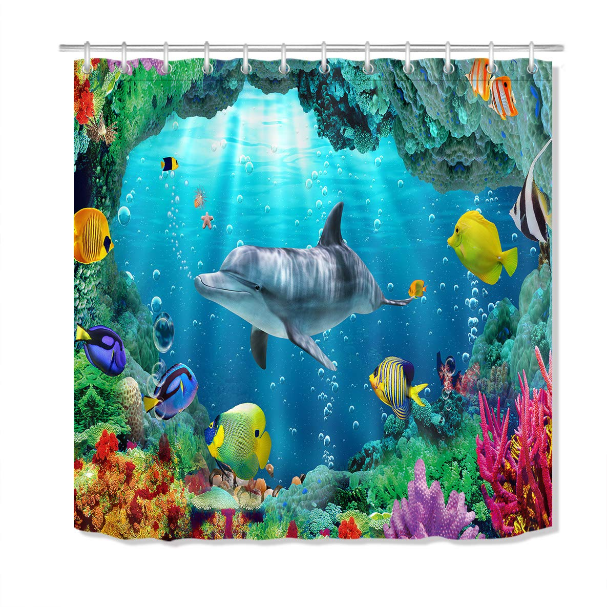 LB Underwater Dolphin Shower Curtain Blue Ocean Sea Kids Bathroom Curtain Fish Coral Reef Decoration Hooks Include Waterproof Polyester Fabric 72x72 inch