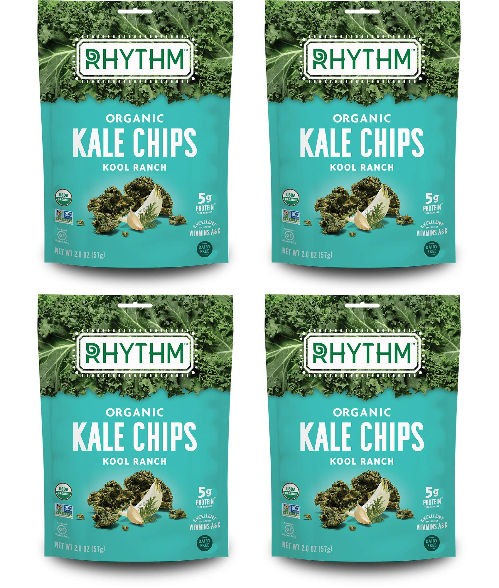 Rhythm Superfoods Kale Chips, Kool Ranch, Organic and Non-GMO, 2.0 Oz (Pack of 4), Vegan/Gluten-Free Superfood Snacks