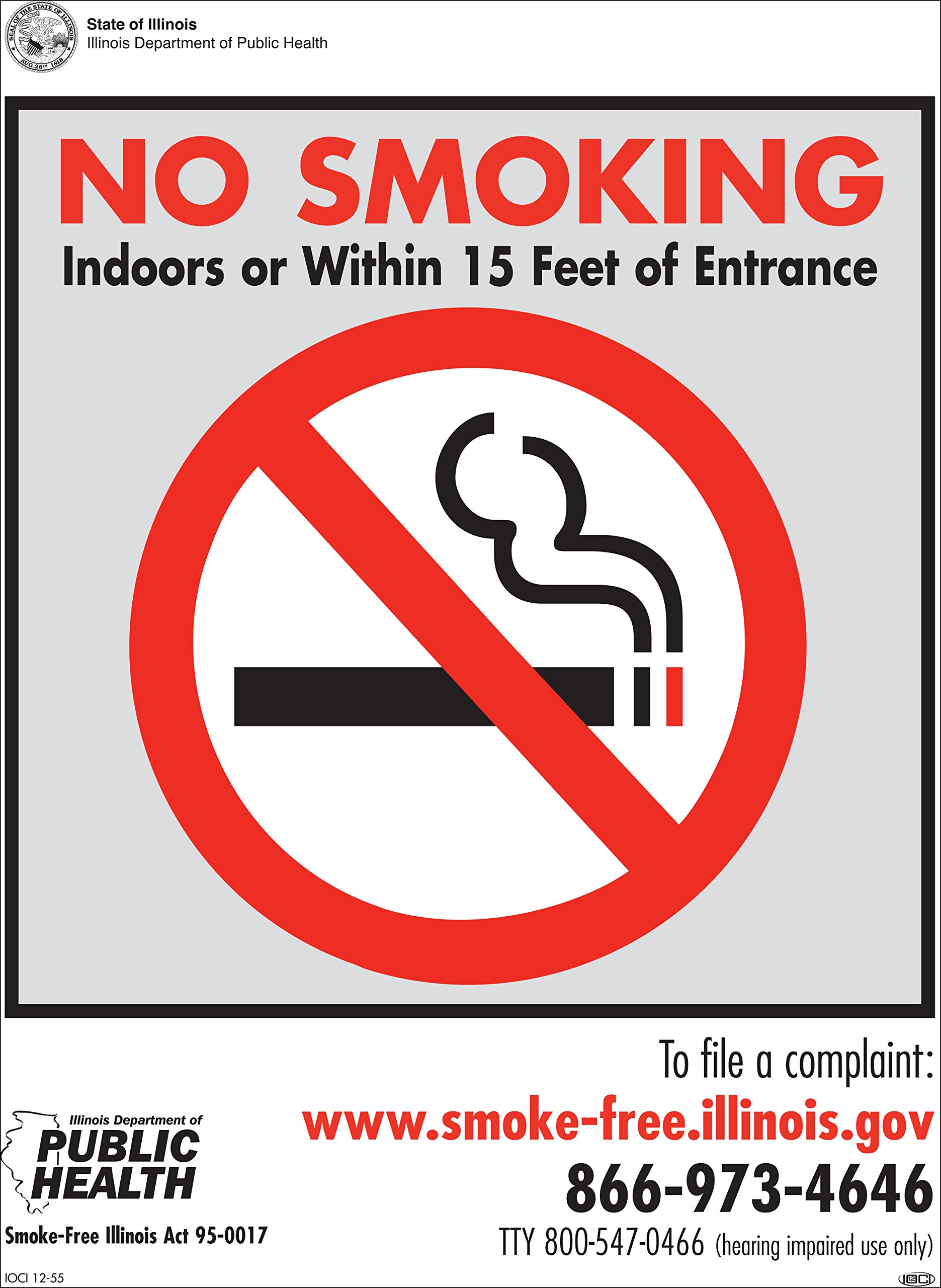 "ZING 2850 No Smoking Sign, Recycled Plastic, Illinois, 14"" Height x 10"" Width"
