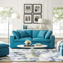 Modway Commix Down Down Filled Overstuffed 2 Piece Sectional Sofa Set, Two Corner Chairs, Teal